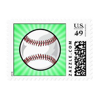 Neon Green Softball; Baseball Stamp