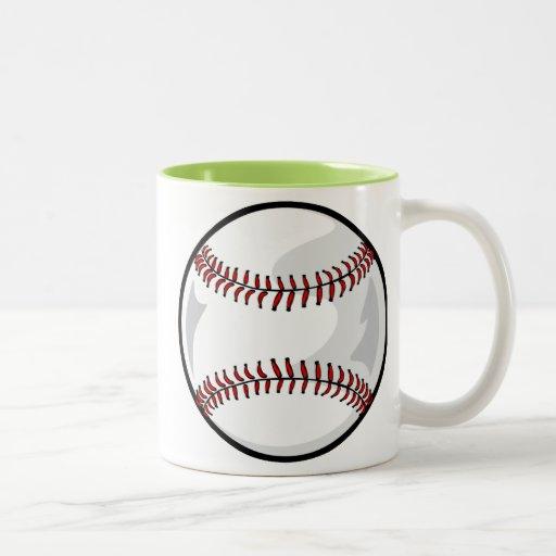 Neon Green Softball; Baseball Two-Tone Coffee Mug