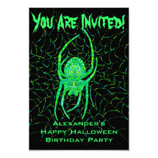 Neon Green Spider Halloween Themed Birthday Party Card