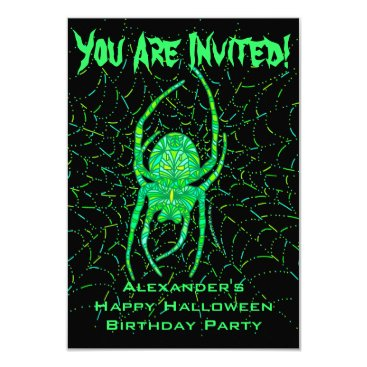 Halloween Themed Neon Green Spider Halloween Themed Birthday Party Card