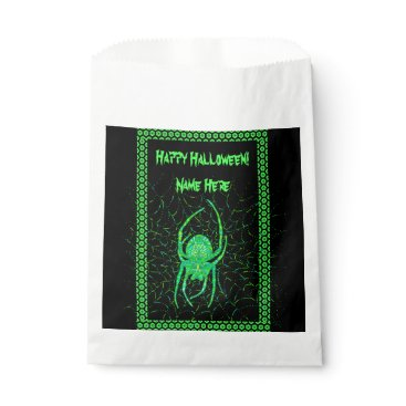 Halloween Themed Neon Green Spider Spooky Arachnid Halloween Favor Bag