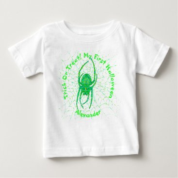 Halloween Themed Neon Green Spider Spooky Arachnid Halloween Fun Baby T-Shirt