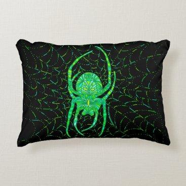 Halloween Themed Neon Green Spider Spooky Arachnid Halloween Fun Decorative Pillow