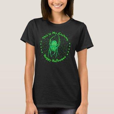 Halloween Themed Neon Green Spider Spooky Arachnid Halloween Fun T-Shirt