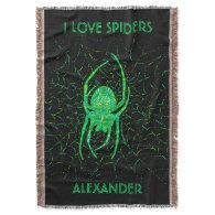 Neon Green Spider Spooky Arachnid I Love Spiders Throw