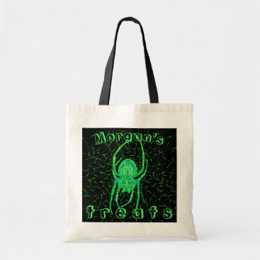 Halloween Themed Neon Green Spider Spooky Halloween Fun Add Name Tote Bag