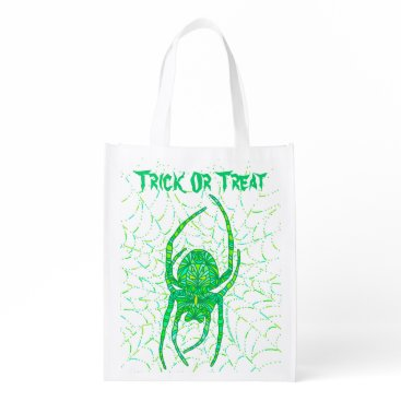 Halloween Themed Neon Green Spider Trick Or Treat Eco Friendly Bag