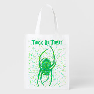 Neon Green Spider Trick Or Treat Eco Friendly Bag Market Totes
