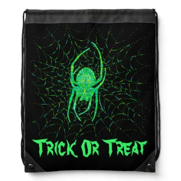 Halloween Themed Neon Green Spider Trick Or Treat Halloween Pack Drawstring Bag
