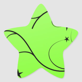Neon green spiral star sticker