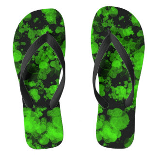 Neon Green Splash Wide Strap Flip Flops