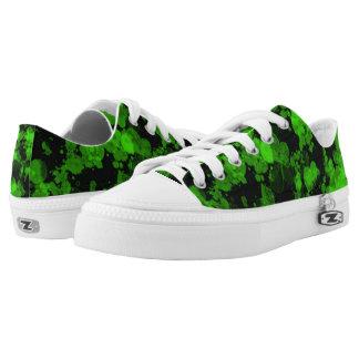 Neon Green Splash Zipz Low Top Shoes