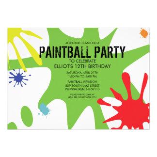 Neon Green Split Splat Custom Paintball Party Custom Invitations