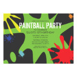 Neon Green Split Splat Custom Paintball Party Personalized Announcements