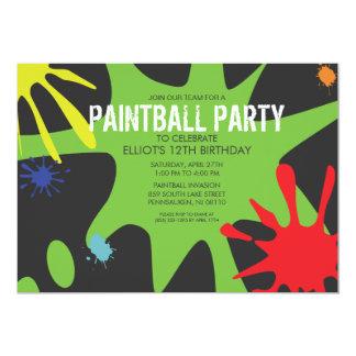 "Neon Green Split Splat Custom Paintball Party 5"" X 7"" Invitation Card"