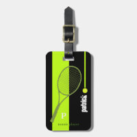 neon green sport tennis personalized bag tag