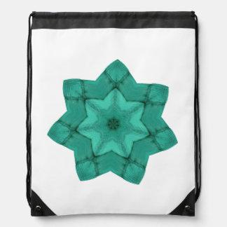 neon green star - abstract modern pattern design drawstring bag