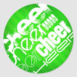 Neon Green Stripes Classic Round Sticker