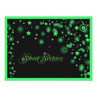 Neon Green Sweet Sixteen Invitation