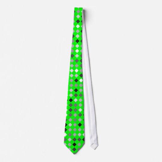 Neon Green Tie With Black, Gray and White Diamonds