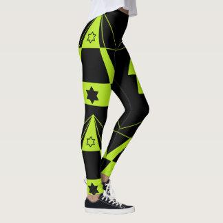 Neon Green Triangles Shapes & Black Stars Yoga Leggings