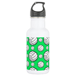 Neon Green Volleyball Pattern Water Bottle
