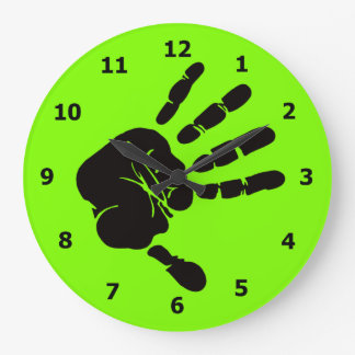 Neon Green Wall Clock with Black Hand Print