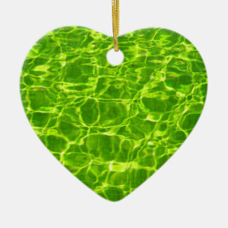 Neon Green Water Patterns Background Blank Modern Ceramic Ornament