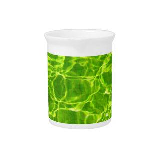 Neon Green Water Patterns Background Blank Modern Drink Pitcher