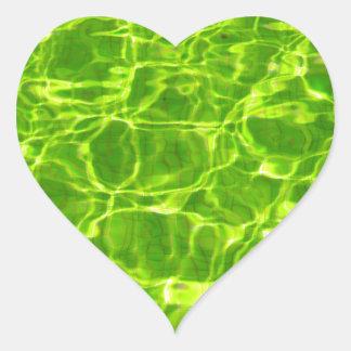 Neon Green Water Patterns Background Blank Modern Heart Sticker