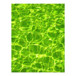 Neon Green Water Patterns Background Blank Modern Letterhead
