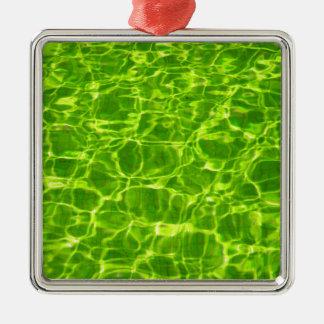 Neon Green Water Patterns Background Blank Modern Metal Ornament