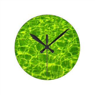 Neon Green Water Patterns Background Blank Modern Round Clock