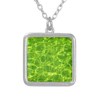 Neon Green Water Patterns Background Blank Modern Silver Plated Necklace