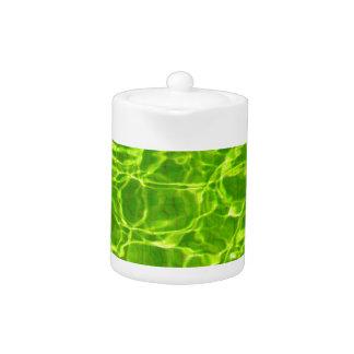 Neon Green Water Patterns Background Blank Modern Teapot