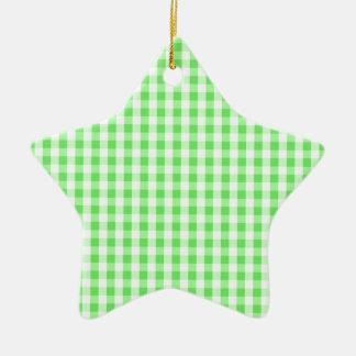 Neon Green & White Gingham Pattern Christmas Tree Ornament