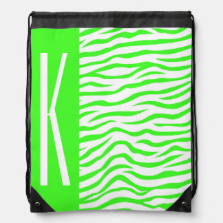 Neon Green & White Zebra Stripes Animal Print Drawstring Bags