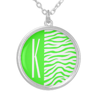 Neon Green & White Zebra Stripes Animal Print Pendants