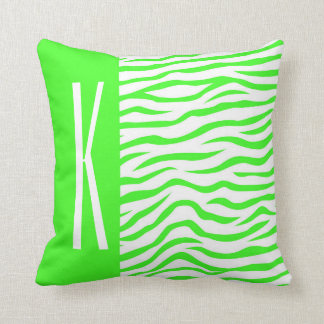 Neon Green & White Zebra Stripes Animal Print Pillows