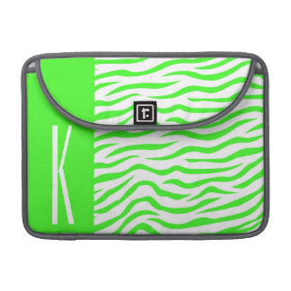 Neon Green & White Zebra Stripes Animal Print Sleeve For MacBook Pro