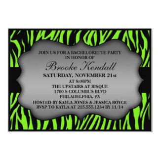 Neon Green Wild Night Zebra Bachelorette Party 5x7 Paper Invitation Card
