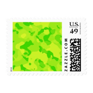 Neon Green Yellow Camo; Camouflage Postage