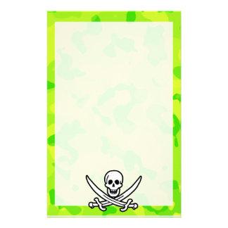 Neon Green Yellow Camo Pirate Custom Stationery
