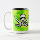 Neon Green Yellow Camo; Pirate Two-Tone Coffee Mug