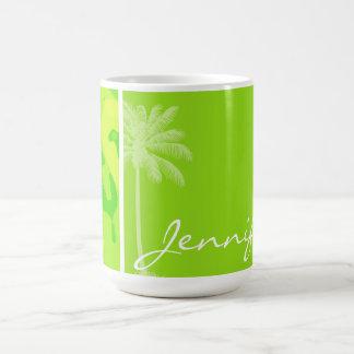 Neon Green Yellow Camo; Tropical Palm Tree Classic White Coffee Mug