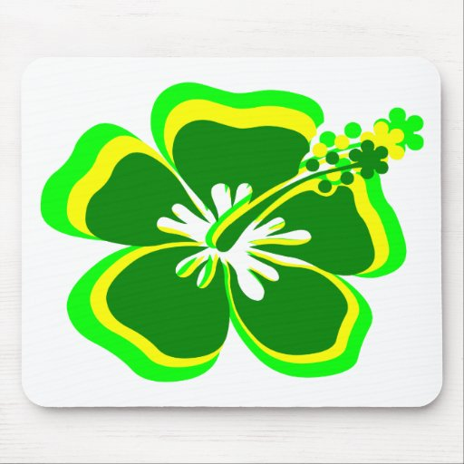 neon green,yellow,green hibiscus flower.png mouse pad