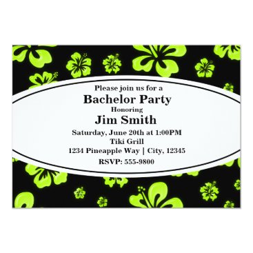 Beach Themed Neon Green Yellow Hibiscus Floral Black Invitation