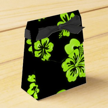 Beach Themed Neon Green Yellow Hibiscus Flower Party Favor Box
