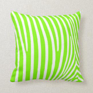 Neon Green Zebra Pattern Throw Pillows