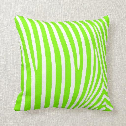 Neon Blue Throw Pillows : Neon Green Zebra Pattern Throw Pillows Zazzle